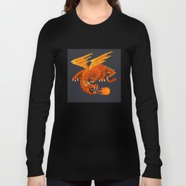 Pixel Fiery Dragon Long Sleeve T-shirt