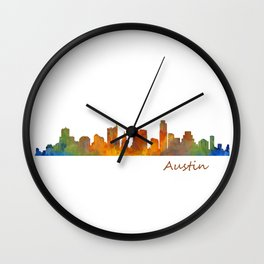 Austin Texas, City Skyline, watercolor  Cityscape Hq v1 Wall Clock
