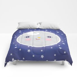 Happy Moon Man Comforters