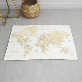 Floral watercolor world map in cream and light brown, Remy Rug