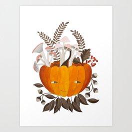 Autumn pumpkin with pink mushrooms watercolor illustration Art Print