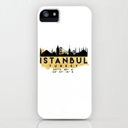 ISTANBUL TURKEY SILHOUETTE SKYLINE MAP ART iPhone Case