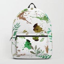 Green Leaves, Paint Splatter, Pattern Backpack