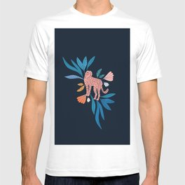 Cheetah and jungle florals on dark blue background  T-shirt