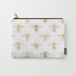 Chic Gold and White Bee Patten Carry-All Pouch