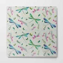 Dragonflies Garden Pattern Metal Print