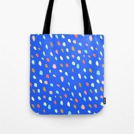 Blue Party Paint Dots Tote Bag