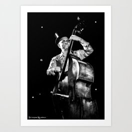 The old contrabass player Art Print
