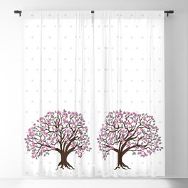 apple tree with pink blossom on the white background Blackout Curtain