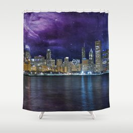 Spacey Chicago Skyline Shower Curtain