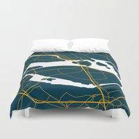 sweden Duvet Covers featuring Stockholm Sweden Map by Studio Tesouro