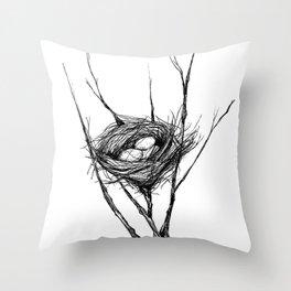 Bird Nest Ink Drawing Throw Pillow