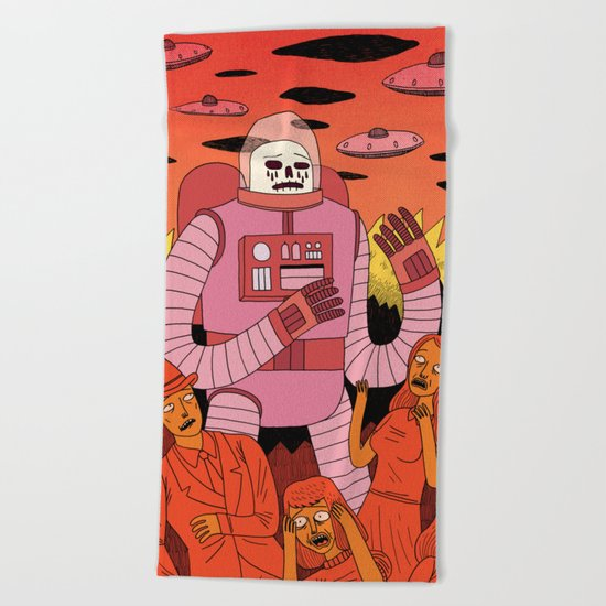 Alien Invader Beach Towel