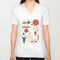 stickers V-neck T-shirts featuring Space Odyssey by Tracie Andrews