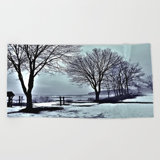 Winter Trees by the Lake Beach Towel