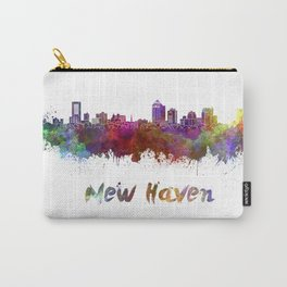 New Haven skyline in watercolor Carry-All Pouch