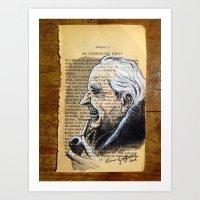 tolkien Art Prints featuring J.R.R. Tolkien Portrait by Gop Art