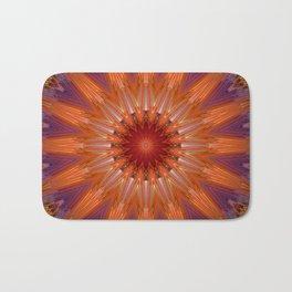 Vibrant Purple Orange Mandala Design Bath Mat