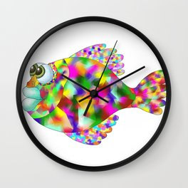 colored fish on the white background, graphic arts Wall Clock