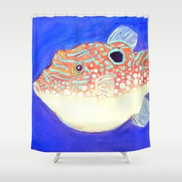 Blue Spotted Orange Toby Puffer Shower Curtain
