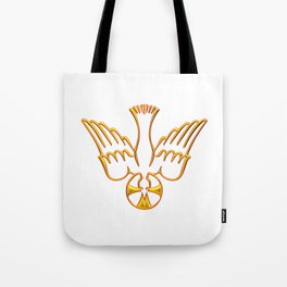 Golden 3-D Look Descent of The Holy Spirit Tote Bag