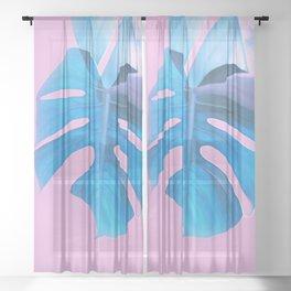 Light Blue Monstera Sheer Curtain