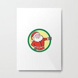 Santa Claus Father Christmas Thumbs Up Circle Cartoon Metal Print