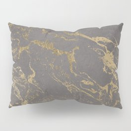 Modern Grey cement concrete gold marble pattern Pillow Sham