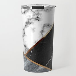 Elegant Silver Marble with Bronze Lining Travel Mug