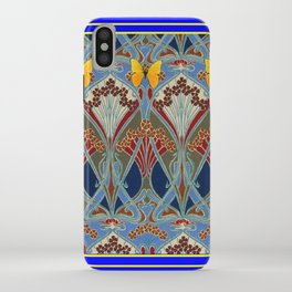 Ornate blue & Yellow Art Nouveau Butterfly Red Designs iPhone Case