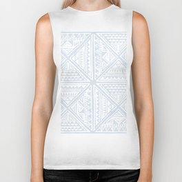 Simply Tribal Tile in Sky Blue on Lunar Gray Biker Tank
