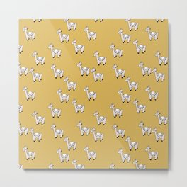 Cute little baby Llama alpaca illustration pattern neutral nursery ochre yellow Metal Print
