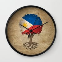 philippines Wall Clocks featuring Vintage Tree of Life with Flag of Philippines by Jeff Bartels