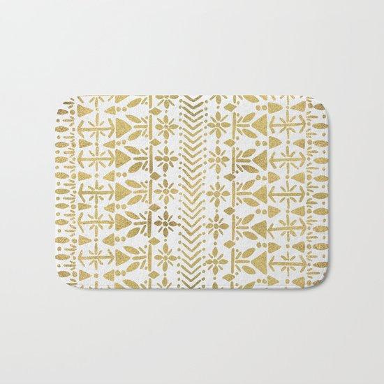 Norwegian Pattern – Gold on White Bath Mat