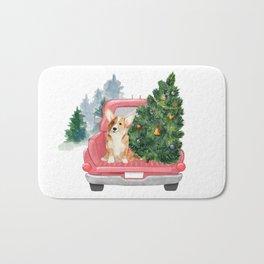 Driving Home For Christmas - Corgi On Red Xmas Car  Bath Mat