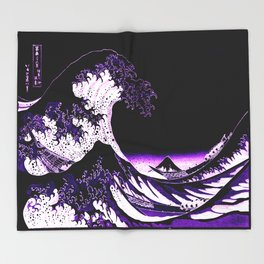 The Great Wave : Purple Throw Blanket