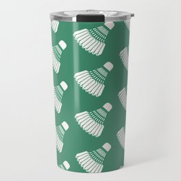 Shuttlecock Badminton Pattern (Green) Travel Mug