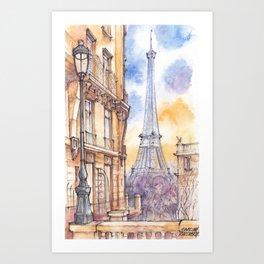 Paris ink & watercolor illustration Art Print