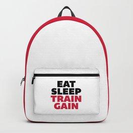 Eat Sleep Train Gain Gym Quote Backpack