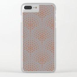 Cavern Clay SW 7701 Polka Dot Scallop Fan Pattern on Slate Violet Gray SW9155 Clear iPhone Case