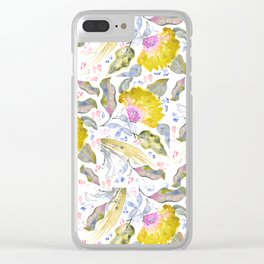 Lovelies - yellow & pink Flower pattern Clear iPhone Case