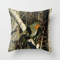 robin Throw Pillows featuring robin by giol's