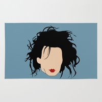 johnny depp Area & Throw Rugs featuring Johnny Depp Edward Scissorhands by THE MAD MARI