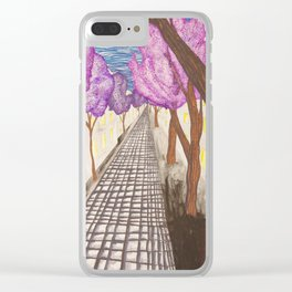 Purple Trees Clear iPhone Case