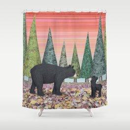 black bears & evergreens Shower Curtain