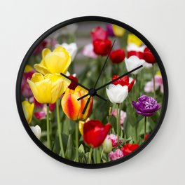 Colorful Tulips Wall Clock