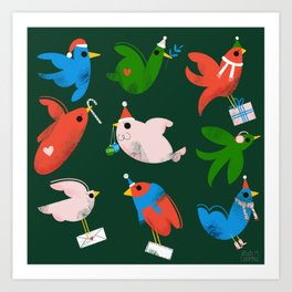 Holiday Birds Art Print