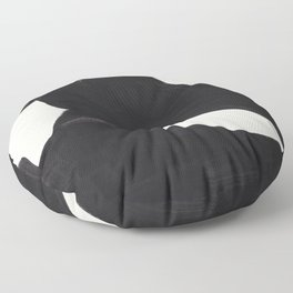 Mid Century Modern Minimalist Abstract Art Brush Strokes Black & White Ink Art Color Field Maze Floor Pillow