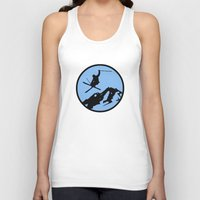 skiing Tank Tops featuring skiing 3 by Paul Simms
