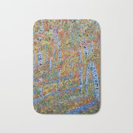 Aspen Trees, Birch Trees, Abstract Art, Landscape Painting Bath Mat